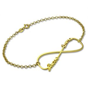 Infinity Double Name Bracelet Gold Plated Silver