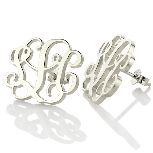 Monogram Stud Earring In Sterling Silver