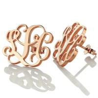 Monogram Stud Earring 18K Rose Gold Plated Silver