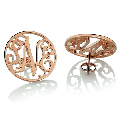 Personalized Circle Monogram Stud Earring In Rose Gold