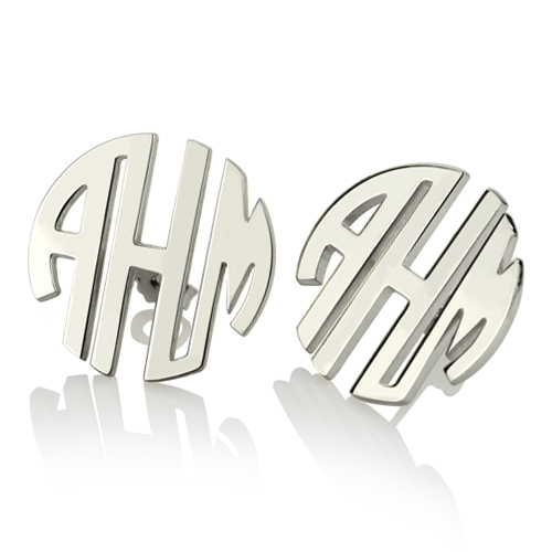 Custom Block Monogram Stud Earrings Sterling Silver