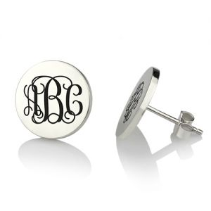 Engraved Disc Monogram Stud Earrings In Sterling Silver
