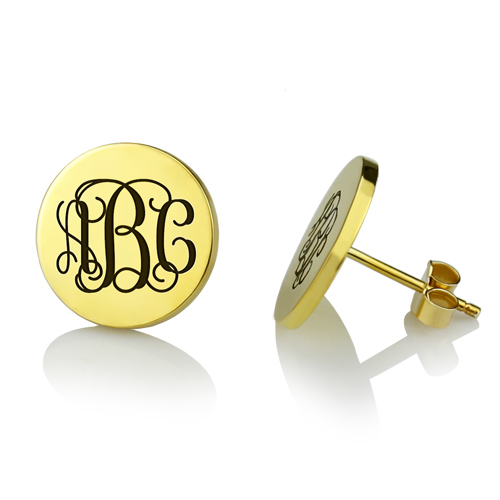 Engraved Disc Monogram Stud Earrings 18K Gold Plated Silver