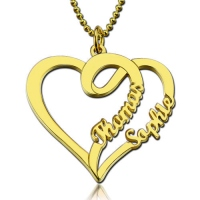 Love Heart Necklace With Two Names Gold Plated Silver