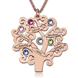Engraved Family Tree Necklace with Birthstones In Rose Gold