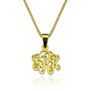 Personalized XS Monogram Necklace Gold Plated Silver