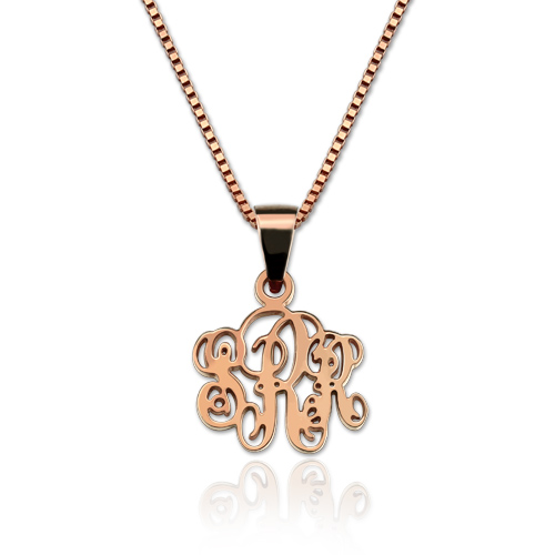 Personalized XS Monogram Necklace In Rose Gold