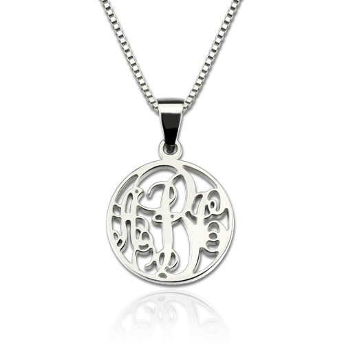 Personalized XS Circle Monogram Necklace Sterling Silver
