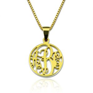 Personalized XS Circle Monogram Necklace Gold Plated Silver