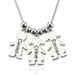 Engraved Name Kids Charms Mother Necklace Sterling Silver