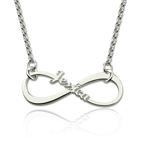 Personalized Single Name Infinity Necklace Sterling Silver