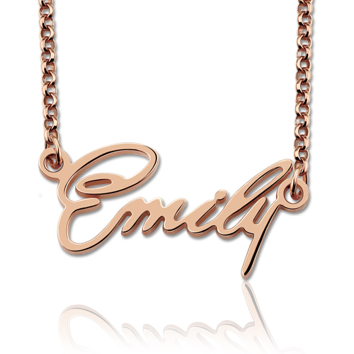 Personalized Tiny Name Necklace In Rose Gold