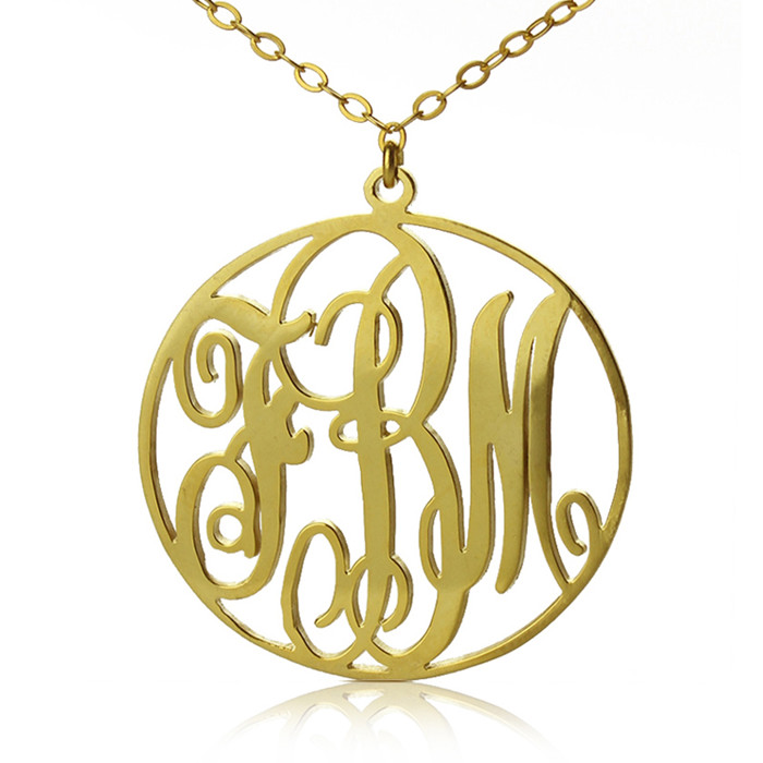 personalized solid gold vine font circle initial monogram