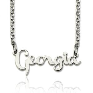 Personalized Cursive Style Name Necklace Sterling Silver