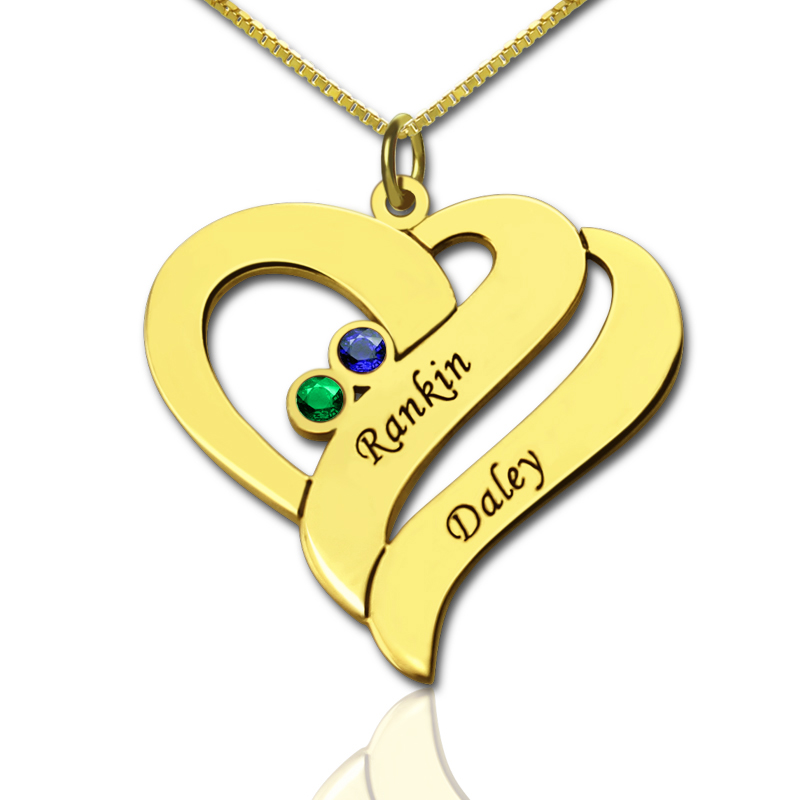 Personalized Gifts - Two Hearts Forever One Love Necklace in Gold