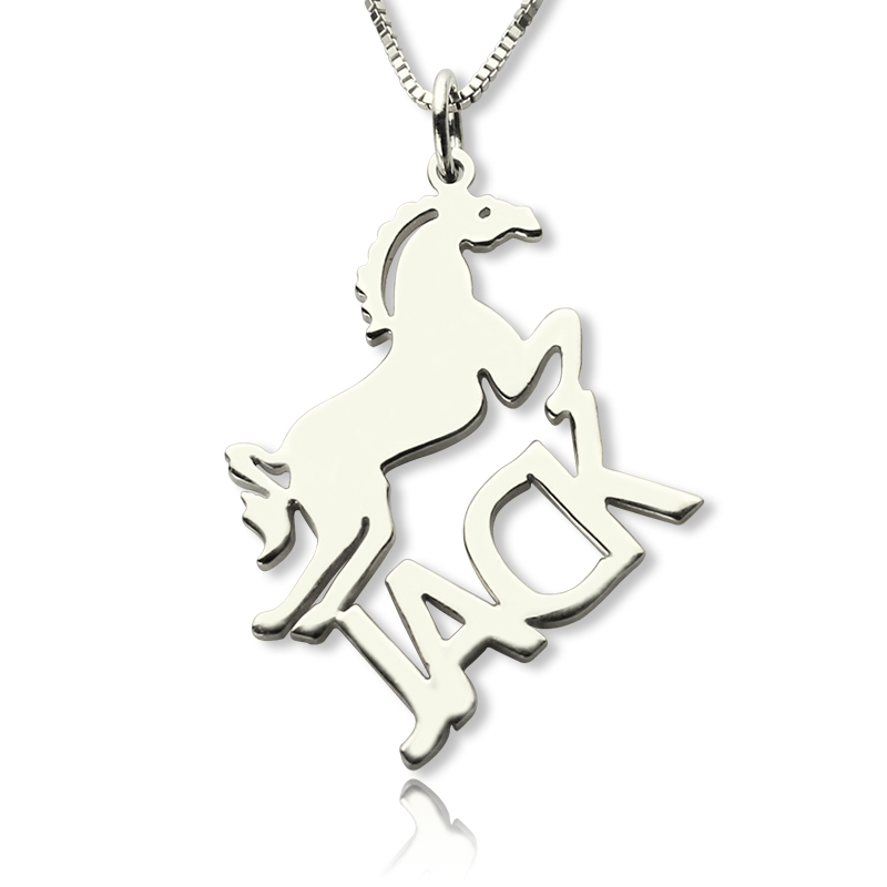 Personalized horse name necklace for kids silver mozeypictures Image collections