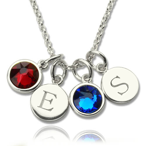 personalized initial charm necklace with birthstone