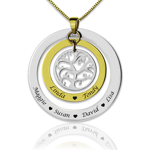 circle family tree with family member u0026 39 s names necklace