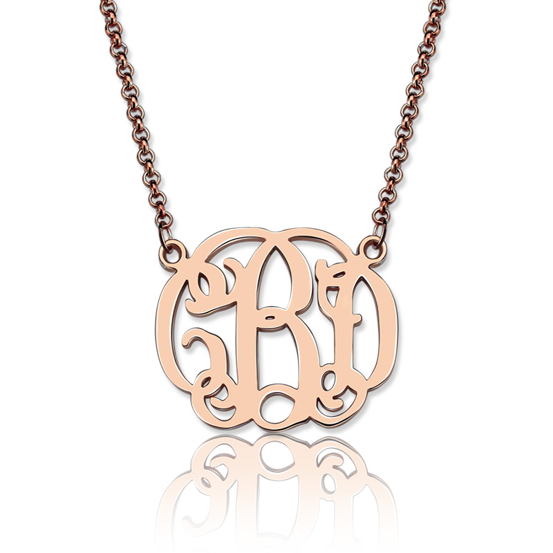 Small celebrity monogram necklace 18k rose gold plated for Rose gold personalized jewelry