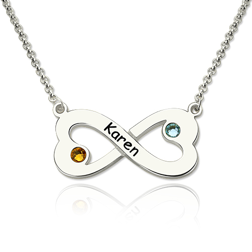infinity heart. engraved silver infinity heart necklace with birthstone