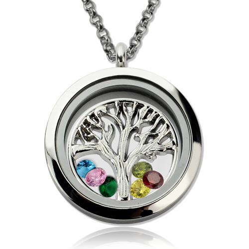 stainless steel family tree floating lockets mother u0026 39 s day necklace