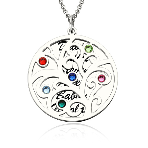 Family tree pendant necklace with birthstone silver mozeypictures Choice Image