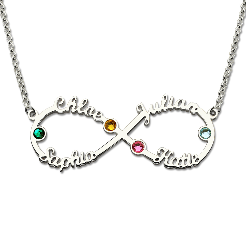 Personalized Infinity 4 Name Necklace With Birthstones Silver