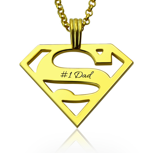 18k Gold Plated Men S Superman Necklace