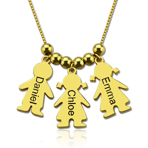 Engraved Name Kids Charms Mother S Necklace Gold Plated Silver
