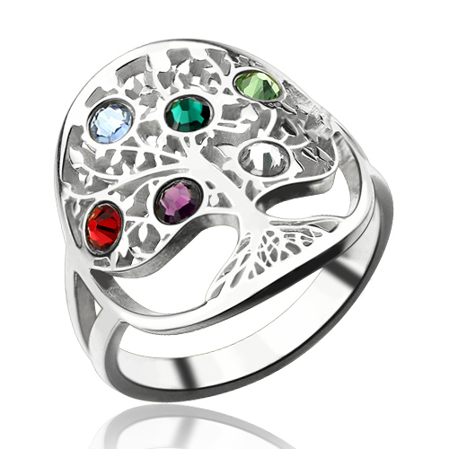 Mother S Day Gift Family Tree Ring With Birthstones