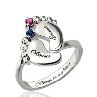 Engraved Baby Feet Birthstone Ring for Mom Platinum Plated