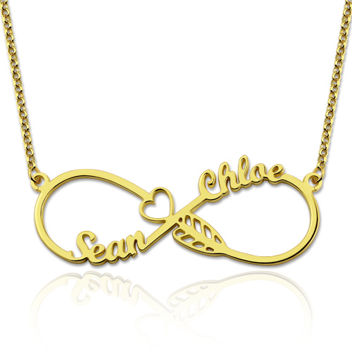 Arrow Infinity Necklace with Names Gold Plated Silver
