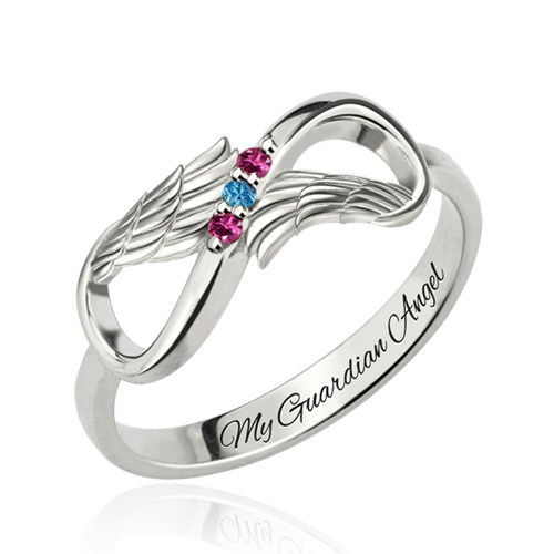 infinity mothers ring. personalized mothers ring with 3 birthstones platinum plated infinity