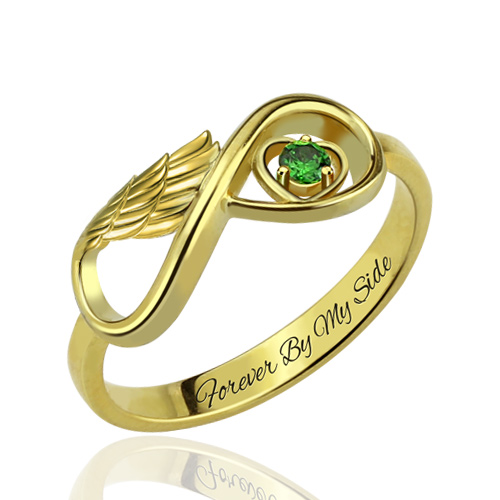 angel wing infinity heart ring with birthstone gift for lover