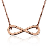 Engraved Infinity Symbol Necklace In Rose Gold