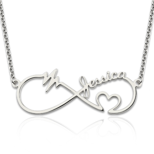 Infinity Heartbeat Necklace with Names Sterling Silver