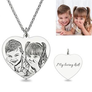 Engraved Heart Photo Pendant Necklace In Sterling Silver