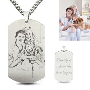 Titanium Steel Men's Necklace Photo Necklace for Fathers