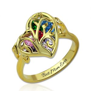 Family Tree Heart Cage Ring With Heart Birthstones Gold Plated