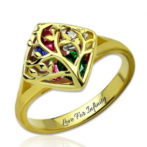 Family Tree Cage Ring With Heart Birthstones Gold Plated