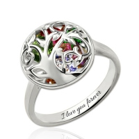 Round Cage Family Tree Ring With Heart Birthstones Platinum Plated