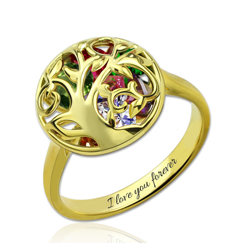 Round Cage Family Tree Ring With Heart Birthstones Gold Plated