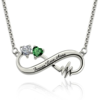 Heartbeat Infinity Necklace With Birthstones Platinum Plated