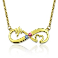 Heartbeat Birthstone Infinity Love Necklace Gold Plated