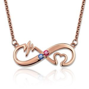 Heartbeat Birthstone Infinity Love Necklace In Rose Gold