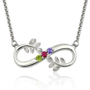 Tree Branch Infinity Necklace With Birthstones Platinum Plated