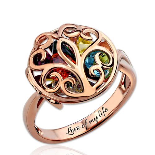 Round Cage Ring Family Tree Ring with Birthstone In Rose Gold