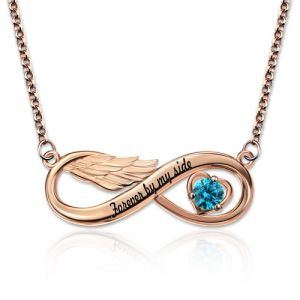 Infinity Angel Wing Necklace With Birthstone In Rose Gold