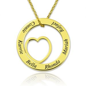 Engraved Love Circle Name Necklace Gold Plated Silver