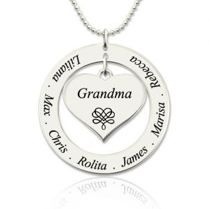 Engraved Circle Necklace Grandma Heart Pendant Sterling Silver